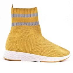 Basket montante en toile jaune