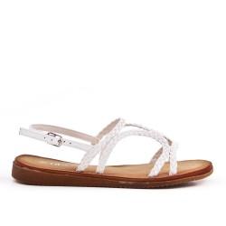 Sandalia de piel sintética blanco con brida trenzada