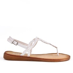 Tong white sandal with braided strap