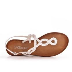 Sandale Tong blanche à bride tressé