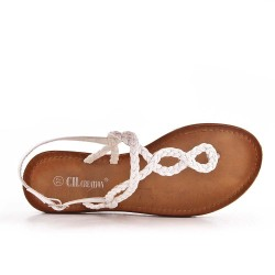 Tong sandalia blanco con correa trenzada