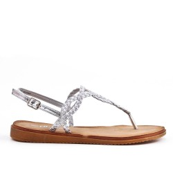 Tong sandalia plata con correa trenzada