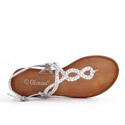 Tong silver sandal with braided strap