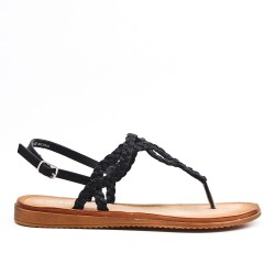 Tong black sandal with braided strap