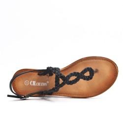 Tong sandalia negra con correa trenzada