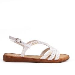 Sandale blanche en simili cuir à bride tressé