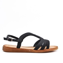 Black imitation leather sandal with braided bridle