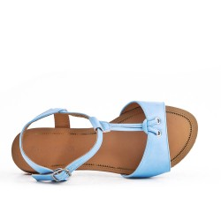 Sandale plate bleu en simili cuir