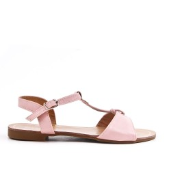 Sandale plate rose en simili cuir