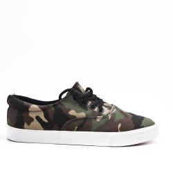 Lace tennis shoes in military canvas