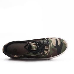 Zapatillas tenis de encaje en lona militar