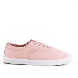 Tennis à lacet en toile rose