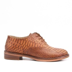 Camel faux leather lace-up derby