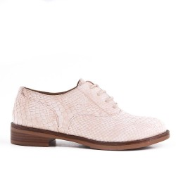 Beige faux leather lace-up derby