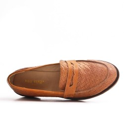 Camel imitation leather moccasin