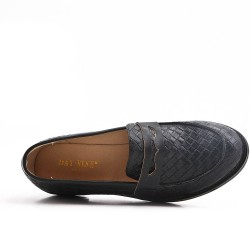 Black imitation leather moccasin
