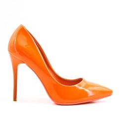 Escarpin orange en vernis à talon