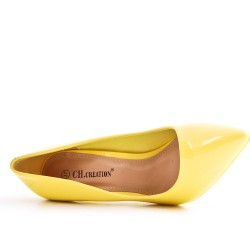 Yellow patent leather heels