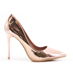 Champagne patent leather heels
