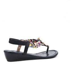 Sandale noire à petit compense