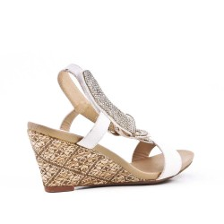 White sandal with rhinestones and small wedge