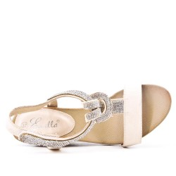 Beige sandal with rhinestones and small wedge