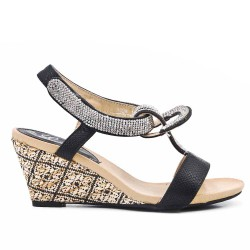 Sandale noire ornée de strass à petit compense
