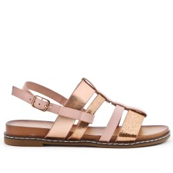 Champagne flat sandal in faux leather