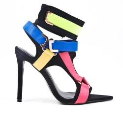 Sandale multicolore en simili cuir à talon haut