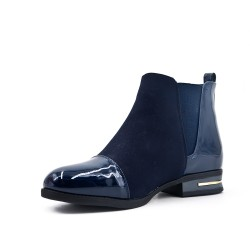 Bi-material blue flat ankle boot