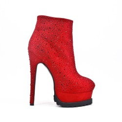 Red ankle boot with rhinestones and platform