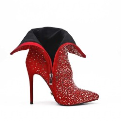 Red ankle with rhinestones