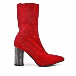 Red ankle boot with rhinestones on the whole