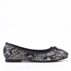 Gray faux leather ballerina with snake print