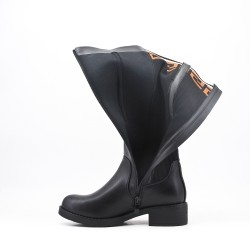 Botte noire en simili cuir à tige chaussette
