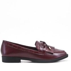 Red imitation leather moccasin with bangs