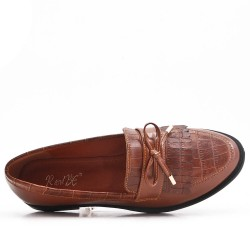 Camel imitation leather moccasin with bangs