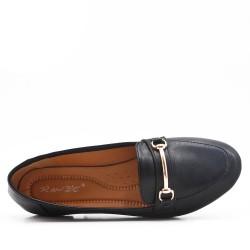 Mocassin confort noire en simili cuir