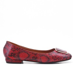 Red faux leather ballerina with snake print