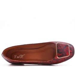 Ballerine rouge en simili cuir imprimé serpent