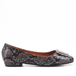 Black faux leather ballerina with snake print