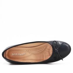 Escarpin confort noir en simili cuir