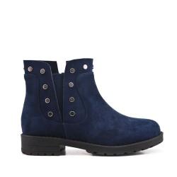 Blue girl's boot with elastic yoke