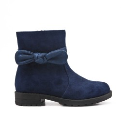 Blue girl boot with bow