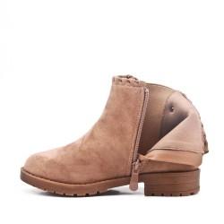Khaki girl's boot with elastic yoke
