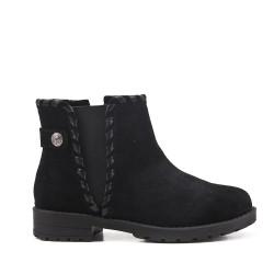 Black girl's boot with elastic yoke