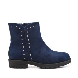 Blue girl's boots in faux suede