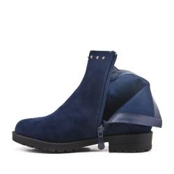 Botas de niña azul en gamuza sintética