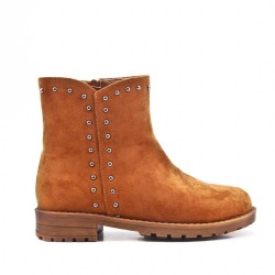 Camel girl's boots in faux suede