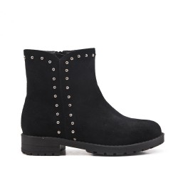 Black girl's boots in faux suede